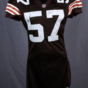 2001 Cleveland Browns - Dwayne Rudd Game-Worn / Used Home Jersey (Unwashed)