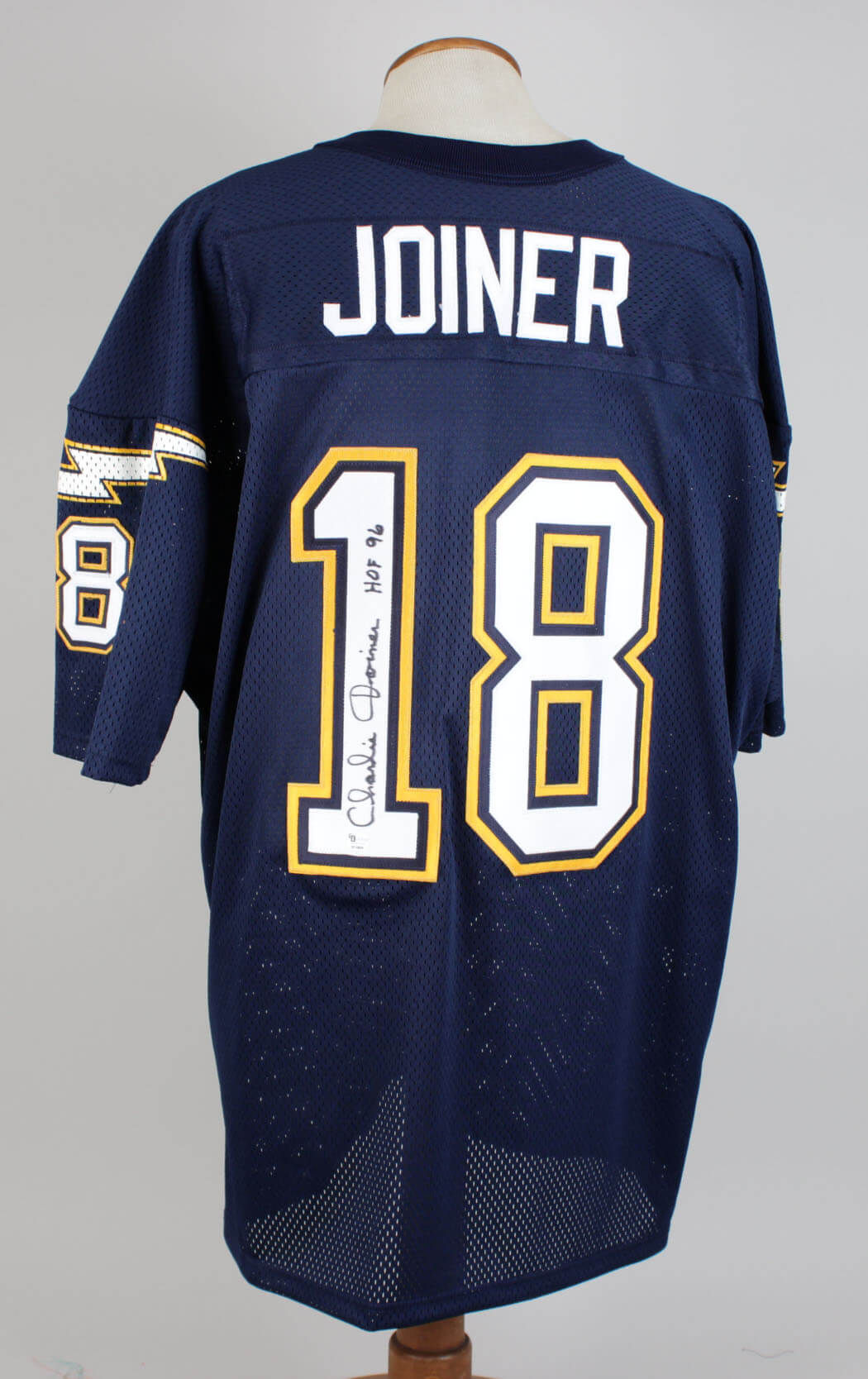 Charlie Joiner Chargers Signed & Inscribed (HOF 96 ) Home Jersey79827_01