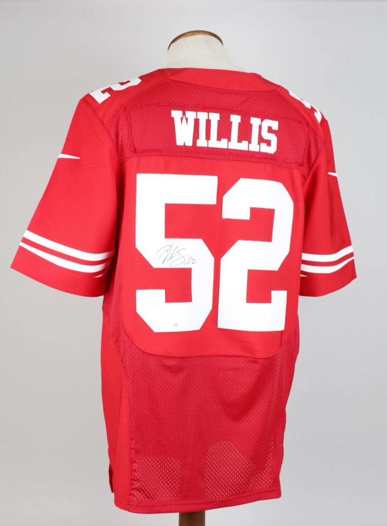 SF 49ers Willis Autographed Red Jersey Signature Grades 9-10