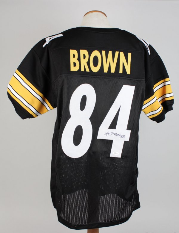 Antonio Brown Steelers Signed Inscribed (84) Home Jersey Signature Grades 9-10