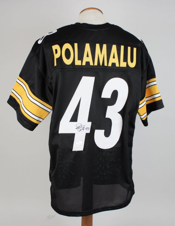 Troy Polamalu Signed and Inscribed (43) Home Steelers Jersey Signature Grades 9-10