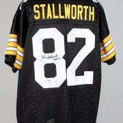John Stallworth Pittsburgh Steelers Signed Inscribed (HOF 02) Black Jersey Signature grades 9-10