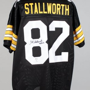John Stallworth Pittsburgh Steelers Signed Inscribed (HOF 02) Black Jersey Signature grades 9-10