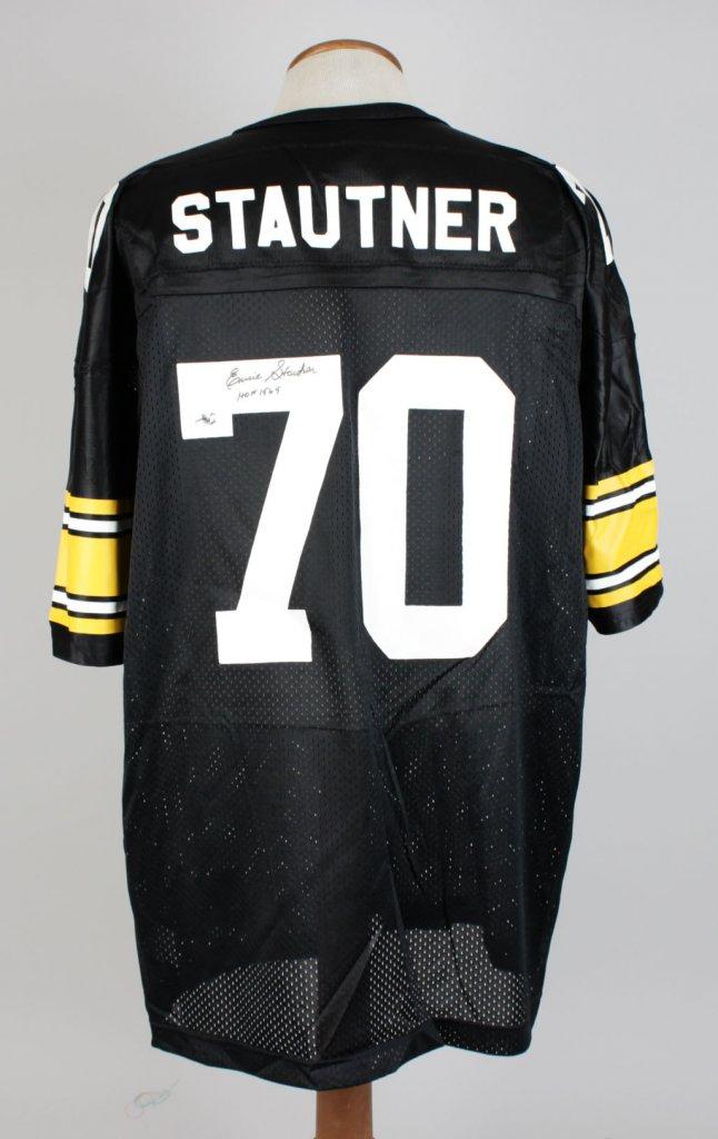 Ernie Stautner Steelers Signed Inscribed ( HOF 1969 ) Home Jersey