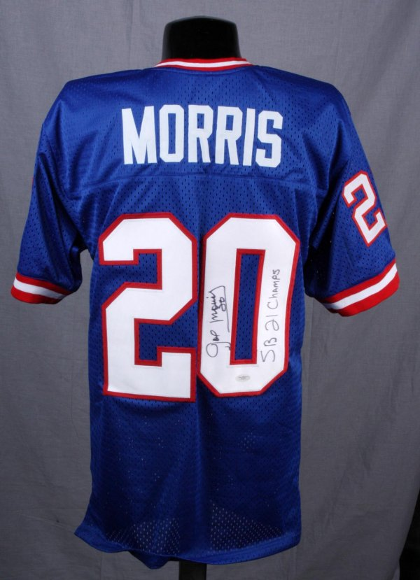 "Giants Joe Morris Signed ""SB 21 Champs""Throwback Blue Jersey"