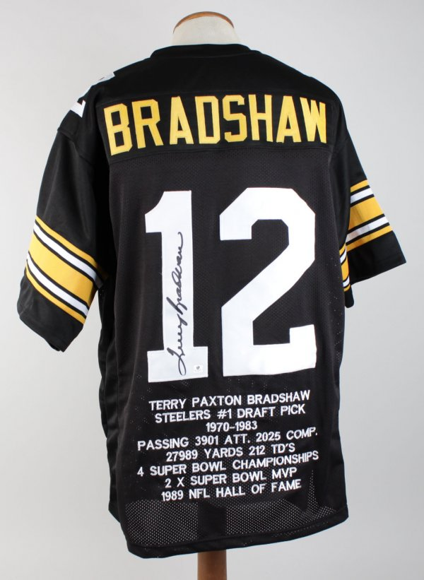 Steelers - Terry Bradshaw Autographed Black Jersey