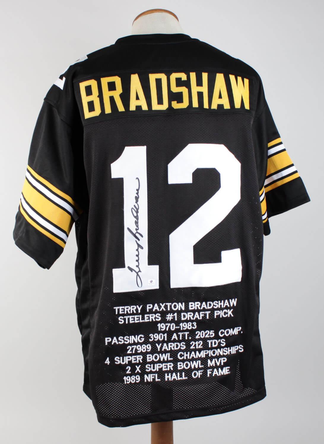 965cdb3f223 Steelers – Terry Bradshaw Autographed Black Jersey