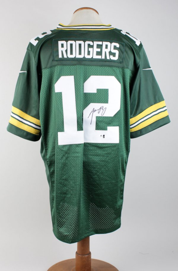 Aaron Rodgers Green Bay Packers Signed Home Jersey Signature Grades 9-10