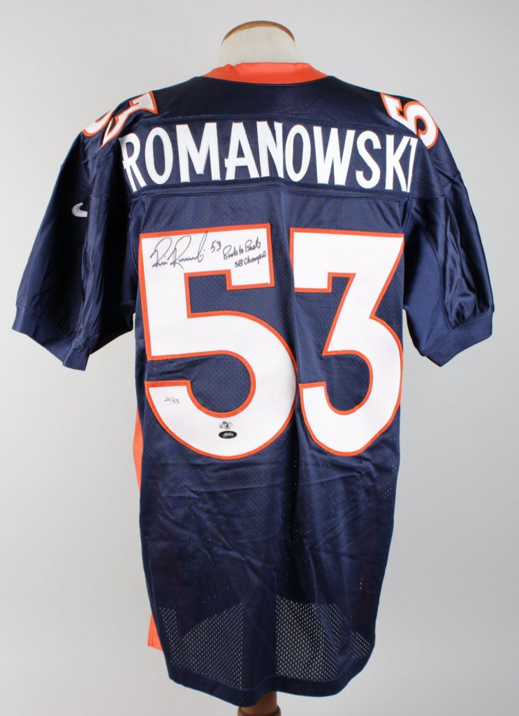 Bill Romanowski Broncos Signed Inscribed ( 53 Back To Back SB Champs ) 20/53  Nike On Field Home Jersey