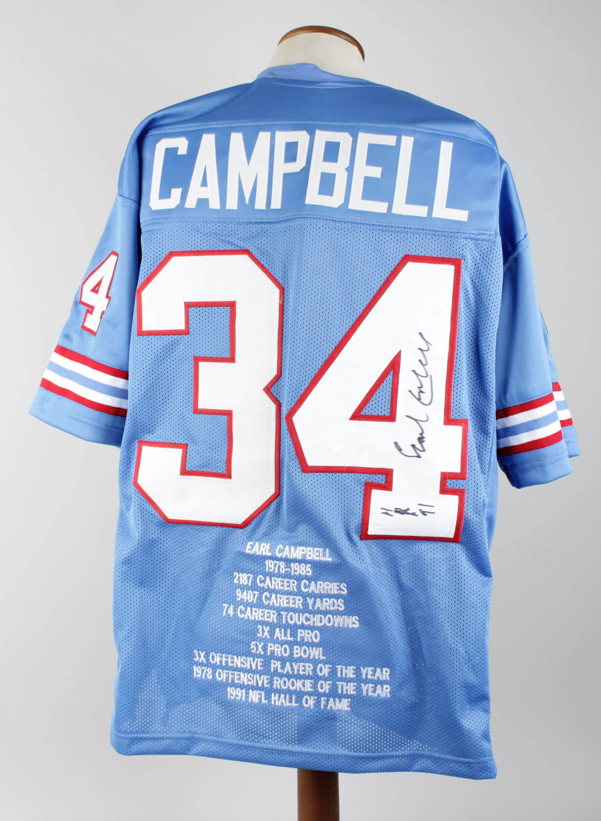 newest 4f688 ddf70 Houston Oilers Earl Campbell Signed Jersey (COA Player Letter)