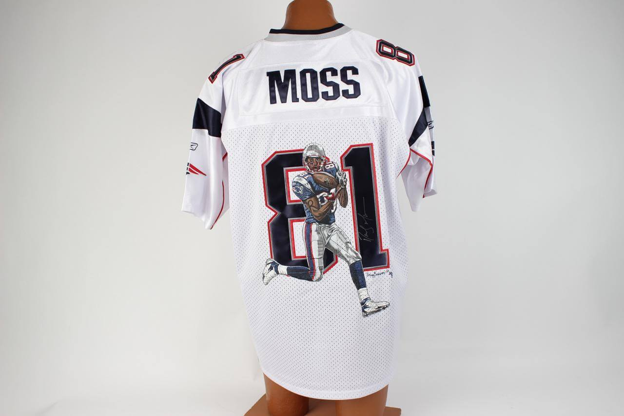 new style a9a84 496fc Patriots Randy Moss Autographed Hand Painted (Doug Brewer 2008) White  Jersey COA