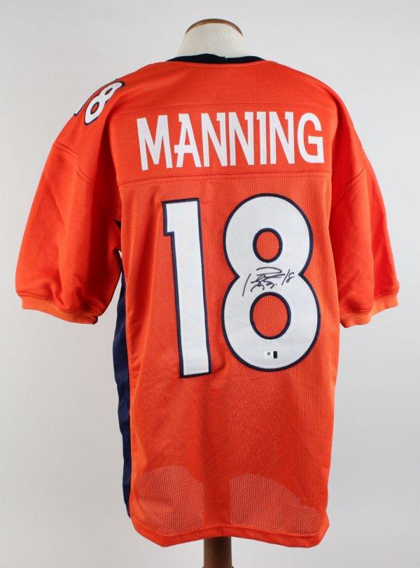 Denver Broncos - Peyton Manning Signed & Inscribed (18) Orange Jersey Signature Grades 9-10