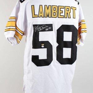 Jack Lambert Steelers Signed Inscribed HOF 90 White Jersey (Lambert 58 Hologram)