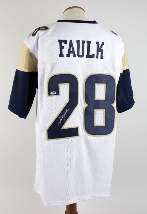 Marshall Faulk Signed Rams White Jersey (PSA)