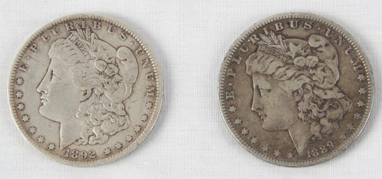 Pair of 1889 & 1892-O Morgan Liberty Silver Dollars Coins
