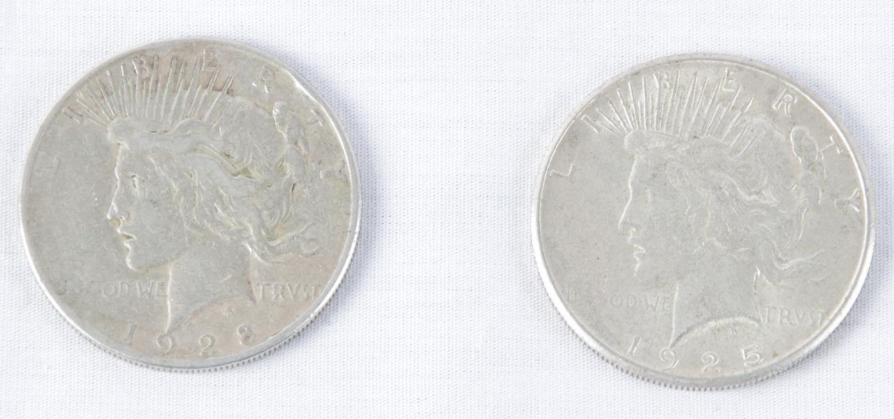 Pair of 1925-S & 1928-S Liberty Peace Silver Dollars