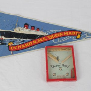 "Vintage Cunard R.M.S. ""Queen Mary"" Lot - Incl. 1920-30s Toy Puzzle & Pennant"
