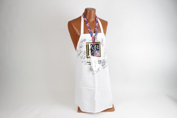 2002 Super Bowl XXXVI Ticket Stub &  Multi-Signed Taste of the NFL Event  Apron Feat. 19 Autographs Incl. Andy Russell