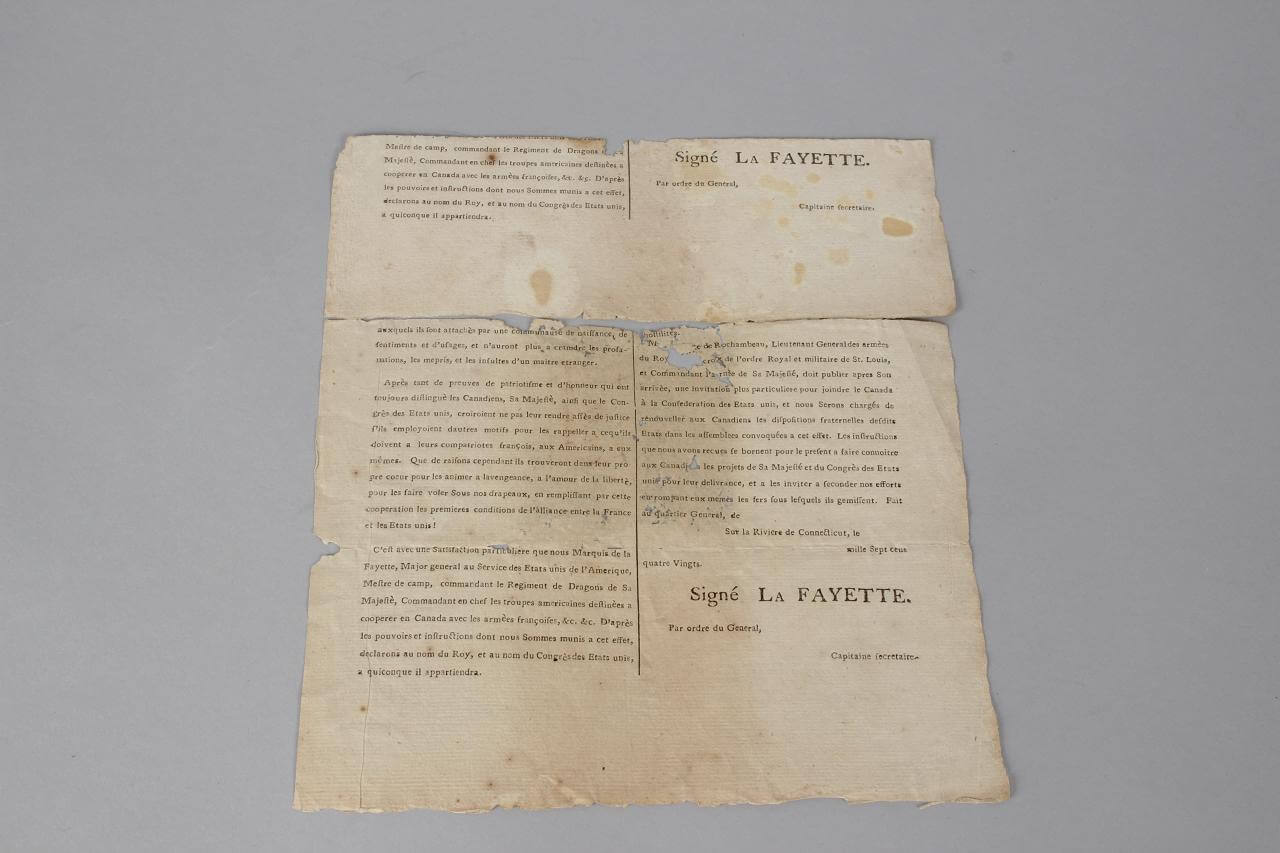 Revolutionary War General La Fayette Document Relating to US & Canada