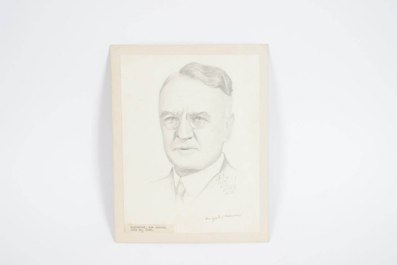 SB**Lindbergh's Father-in-Law - Dwight W. Morrow Signed Original Pencil Drawing- COA