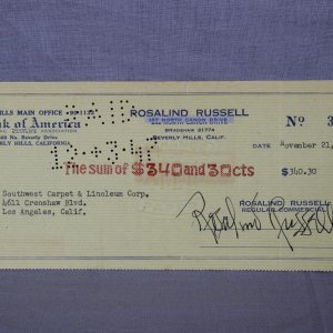 His Girl Friday -Actress- Rosalind Russell Signed Check - COA