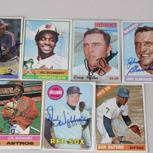 Lot of 7 Signed Baseball Cards Including Bucky Dent