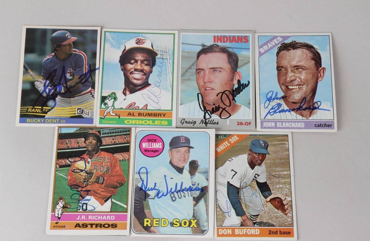 Lot Of 7 Signed Baseball Cards Bucky Dent Al Bumbry Etc Coa