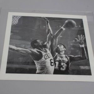 Los Angles Lakers - Wilt Chamberlain vs. Boston Celtics -  Bill Russell 28x30 Stephen Holland Lithograph (Signed by Artist)