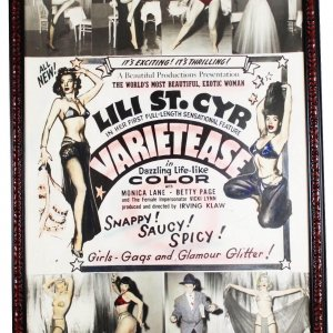 1954 film VARIETEASE starring: Lili St. Cyr, Betty Page, Monica Lane Colorized 40x60 Poster