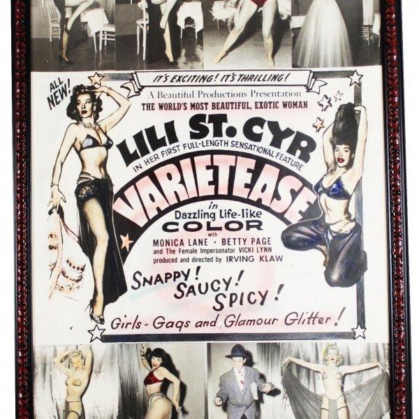 1954 film VARIETEASE starring: Lili St. Cyr, Betty Page, Monica Lane Colorized 40x60 Poster