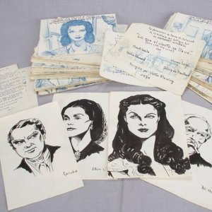 "1976 Orignal Art Book Manuscript of ""Gone With The Wind"" 200+ Handrawn Illustrations - Vivien Leigh etc. (McCulty Collection)"