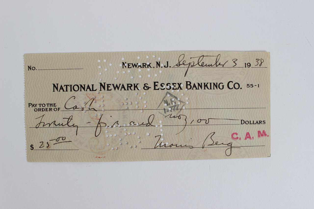 "U.S Spy Rare Morris ""Moe"" Berg Signed Sept,3,1938 National Newark & Essex Banking Co."