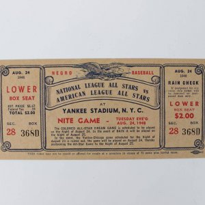 August 24, 1948 - Negro League All-Star Game at Yankee Stadium, N.Y.C. Full Ticket (SGC A SLAB )