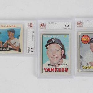 Lot Of (3) Mickey Mantle Yankees Graded Cards Beckett The World's Most Tusted Source In Collecting