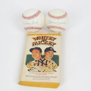 Hall of Fame New York Yankees Lot - Mickey Mantle & Whitey Ford OAL (MacPhail) Single-Signed OAL (MacPhail) Baseballs - & Autobiography