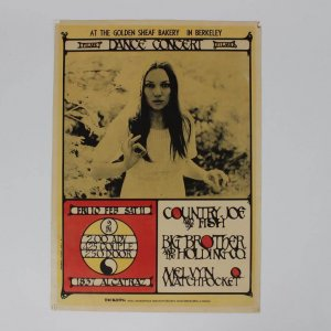 1967 Golden Sheaf Bakery, Berkeley Concert Poster - Feat. Country Joe and the Fish, Big Brothers and the Holding Co. & Melvyn Watchpocket