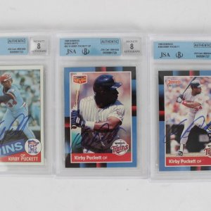 Minnesota Twins - Kirby Puckett Signed Cards Lot of (3) Incl. '85 Rookie Topps