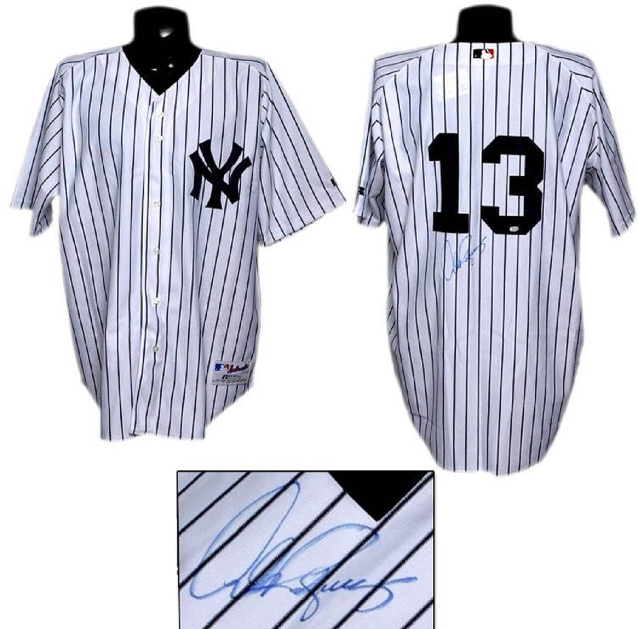 best cheap b881f 1ebbe NY Yankees Alex Rodriguez Signed White Pinstripe Yankees Jersey