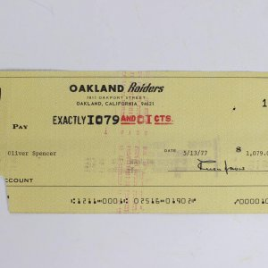 1977 Al Davis Signed Raiders Payroll Check to Oliver Spencer (Endorsed by Spencer on Reverse)