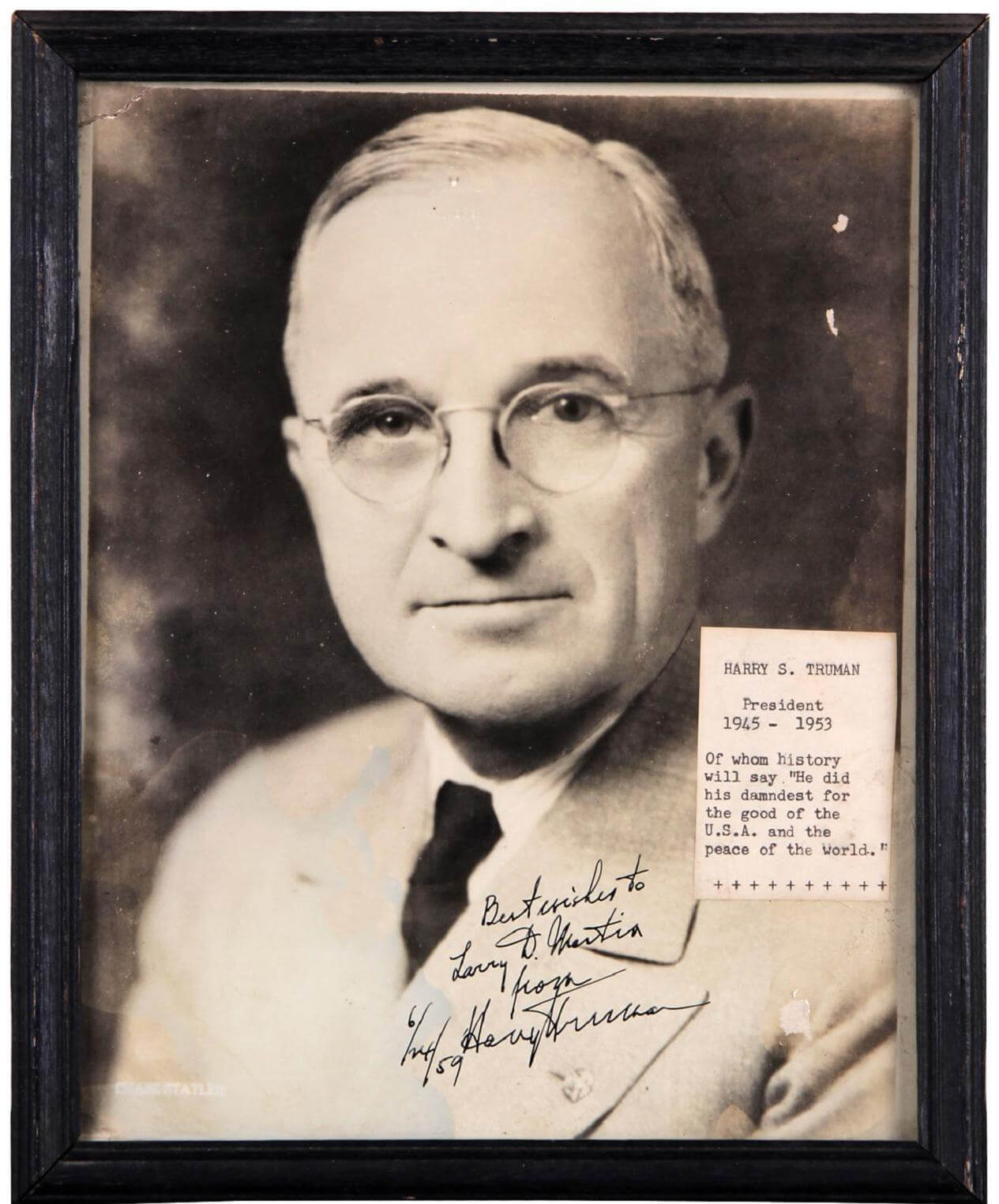 President Harry S. Truman Signed 6/24/59 8x10 Photo