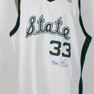 Michigan State - Magic Johnson Signed & Incribed #33  1976 -79 White Hardwood legends White Jersey