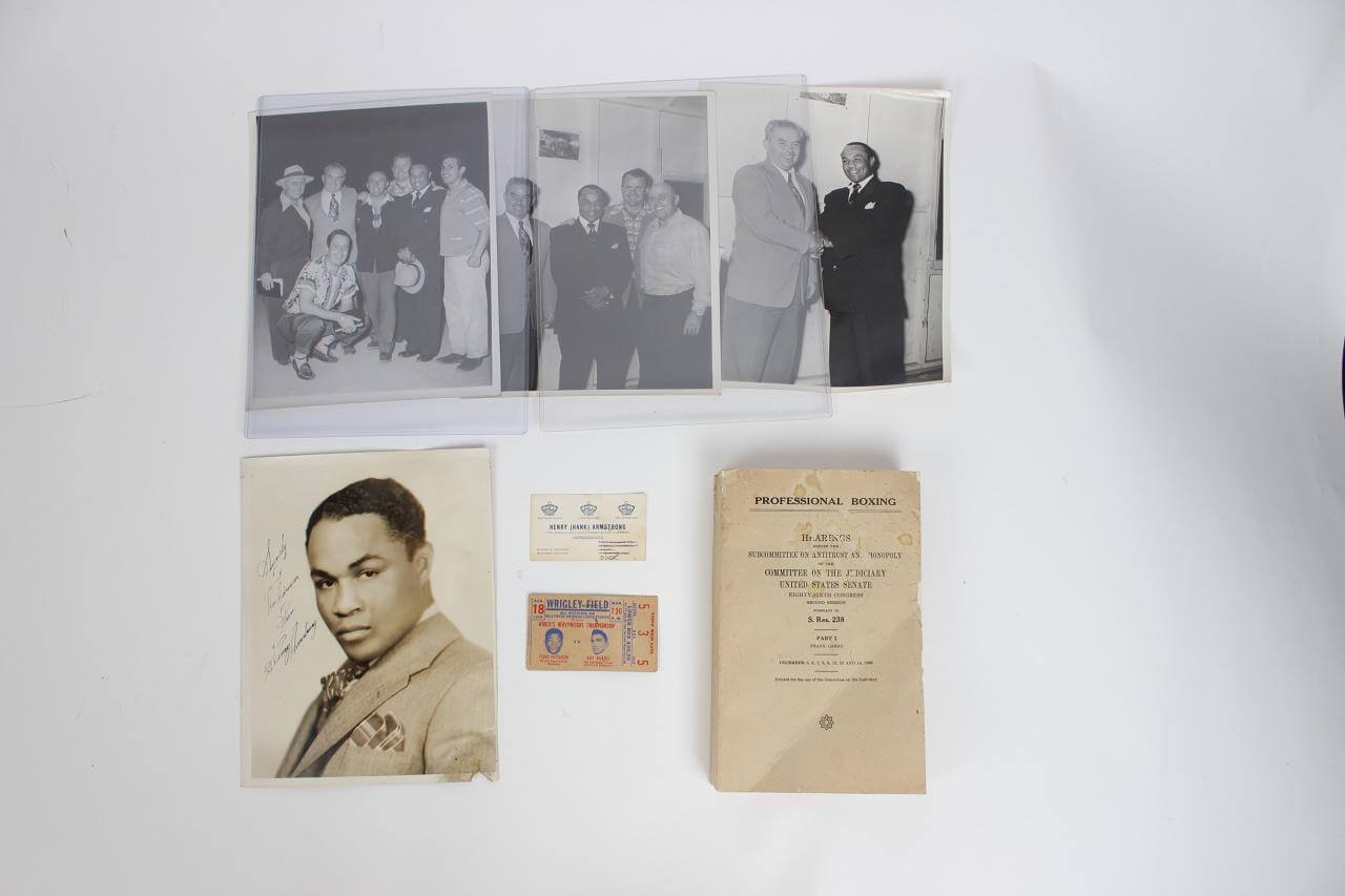 Boxing - Henry Armstrong Lot - Signed & Inscribed 8x10 Vintage B&W Photo- JSA