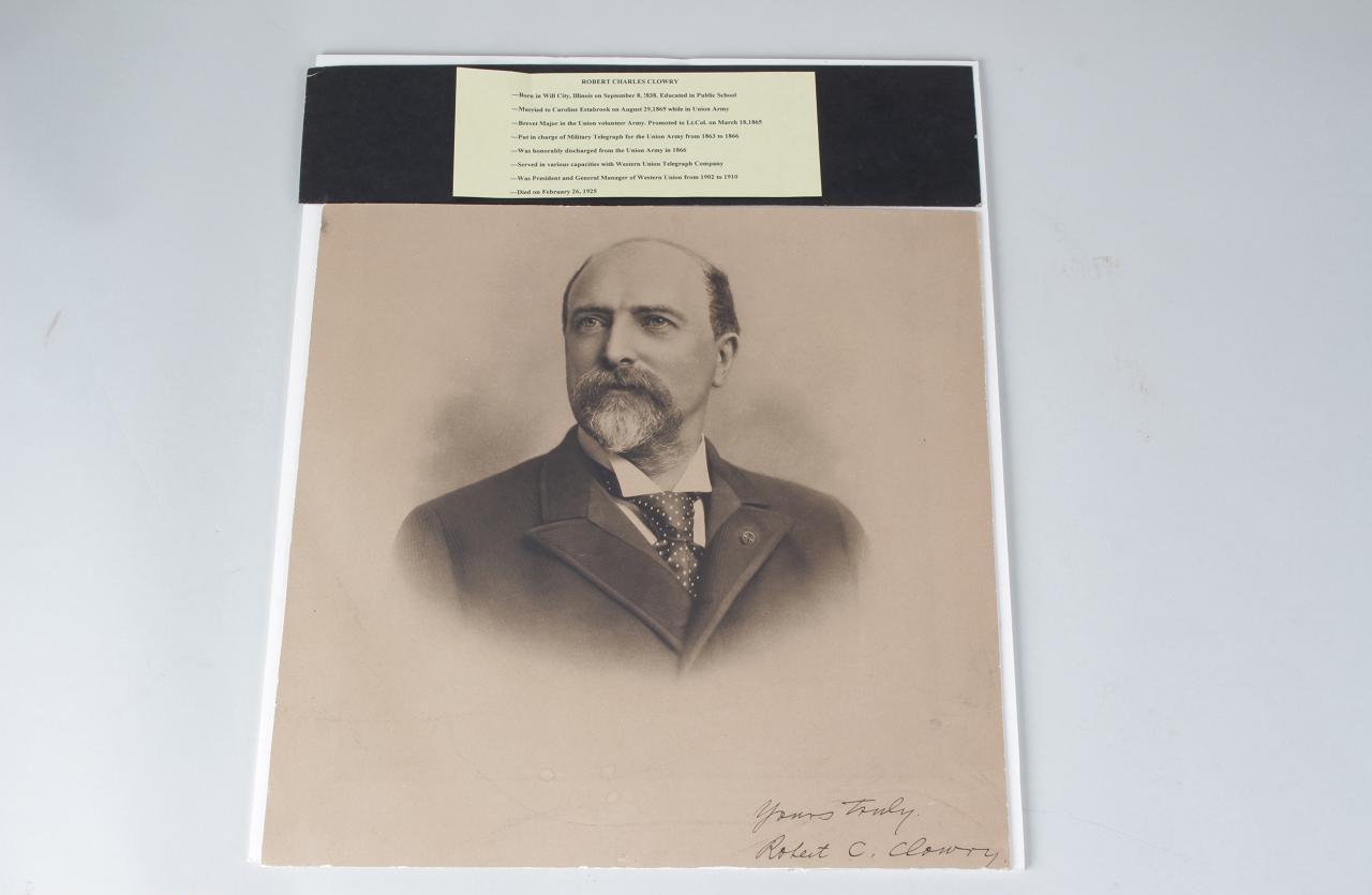 """Civil War Union Army Lt. Col. Robert Charles Clowry Signed, Inscribed """"Yours Truly"""" Portrait 14"""" x 14-1/2"""" Photo Card"""