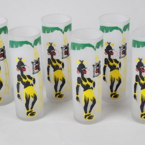 Six Black Americana Glasswear