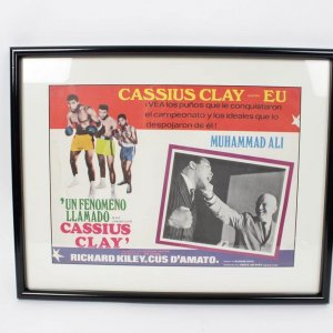 "1970 Boxing Legend - A.K.A. Cassius Clay Film Movie Spanish Lobby Card 16"" x 11-1/2"" Display"