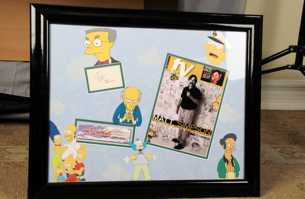 The Simpsons Display - Matt Groening Signed Index Card with Hand Drawn Sketch of Bart