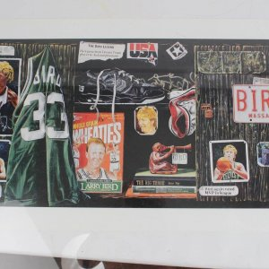Boston Celtics - Larry Bird Signed Career Collage 19x39 Lithograph - COA