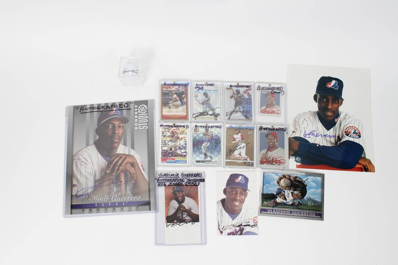 Montreal Expos & Anaheim Angels Lot of 14 Signed Vladimir Guerrero Items Incl. 8 Cards, 2 8x10 Photos, 3 Post Cards & Golf Ball