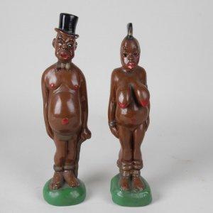 Vintage 1940s Black Americana Porcelin Figurines / Tribal Statues Man w/ Top Hat & Woman