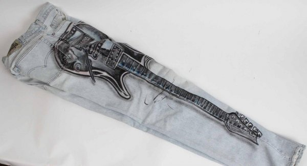 Vintage Levi Silver Tab Blue Jeans Feat. Airbrush Paint Art of Original Ibanez Guitar - Signed by Artist